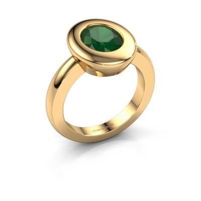 Ring Selene 1 585 goud smaragd 9x7 mm