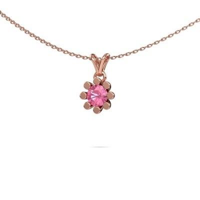 Foto van Hanger Carola 1 375 rosé goud roze saffier 5 mm