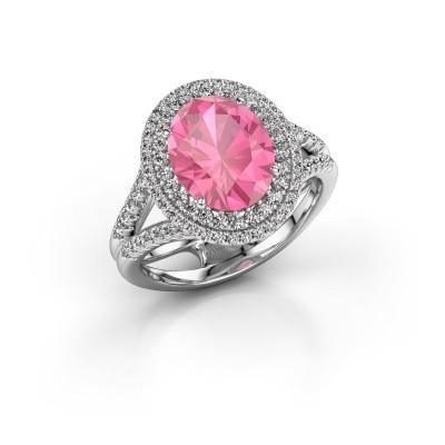 Foto van Verlovingsring Elvie 585 witgoud roze saffier 10x8 mm