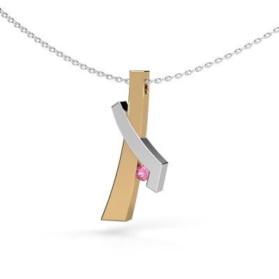 Hanger Alyssa 585 goud roze saffier 2.7 mm