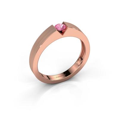Verlovingsring Lizzy 1 585 rosé goud roze saffier 3.7 mm