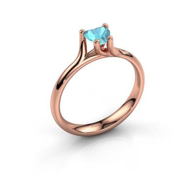 Engagement ring Dewi Heart 585 rose gold blue topaz 5 mm