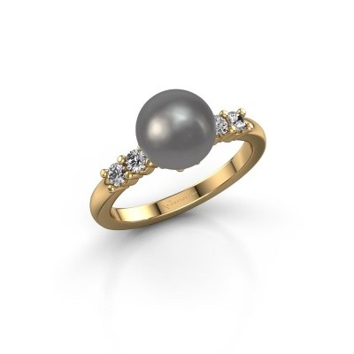 Foto van Ring Cecile 375 goud grijze parel 8 mm