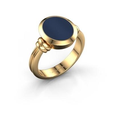 Zegelring Jake 2 F 585 goud donker blauw lagensteen 12x10 mm