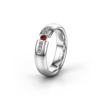 Wedding ring WH2128L26C 950 platinum garnet ±5x2 mm
