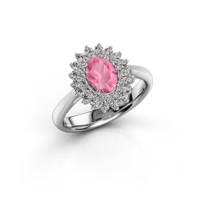 Verlovingsring Alina 1 585 witgoud roze saffier 7x5 mm