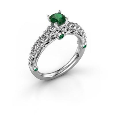 Foto van Verlovingsring Shaunda 585 witgoud smaragd 5 mm