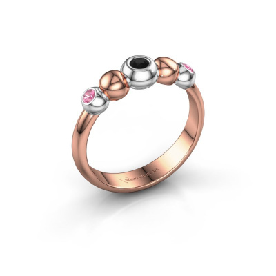 Stackable ring Lily 585 rose gold black diamond 0.072 crt