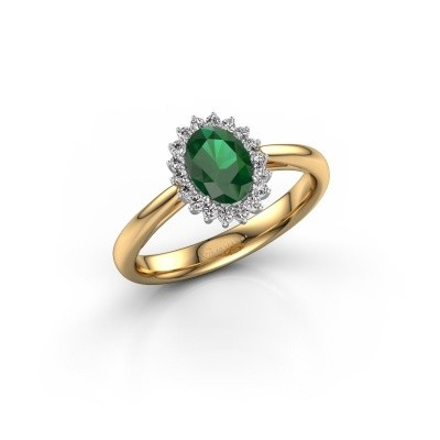 Engagement ring Tilly ovl 1 585 gold emerald 7x5 mm