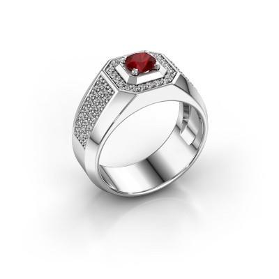 Heren ring Pavan 375 witgoud robijn 5 mm