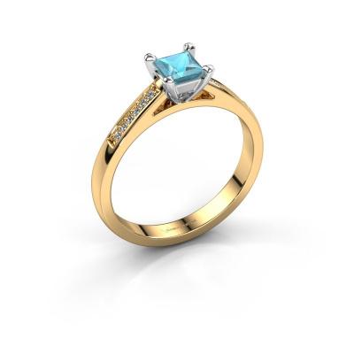 Engagement ring Nynke SQR 585 gold blue topaz 4 mm
