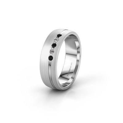 Trouwring WH0323L25AM 925 zilver zwarte diamant ±6x1.7 mm