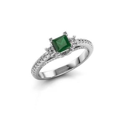 Foto van Verlovingsring Valentina 585 witgoud smaragd 4.25 mm