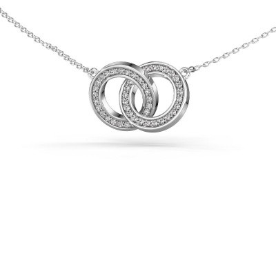 Halsketting Circles 2 925 zilver zirkonia 1 mm