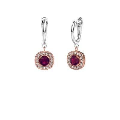 Drop earrings Marlotte 1 585 rose gold rhodolite 5 mm