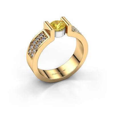 Verlovingsring Isabel 3 585 goud gele saffier 5 mm