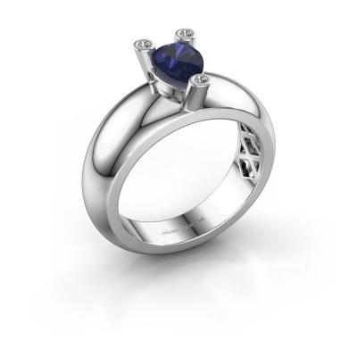 Ring Cornelia Pear 925 silver sapphire 7x5 mm