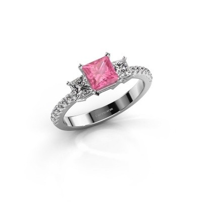 Engagement ring Dorla 585 white gold pink sapphire 5 mm
