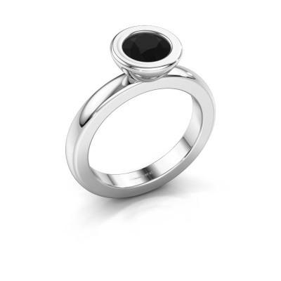 Stapelring Eloise Round 585 witgoud zwarte diamant 0.96 crt