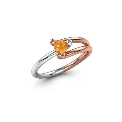 Foto van Verlovingsring Roosmarijn 585 rosé goud citrien 4 mm
