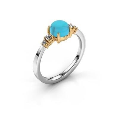 Ring Regine 585 witgoud blauw topaas 6 mm