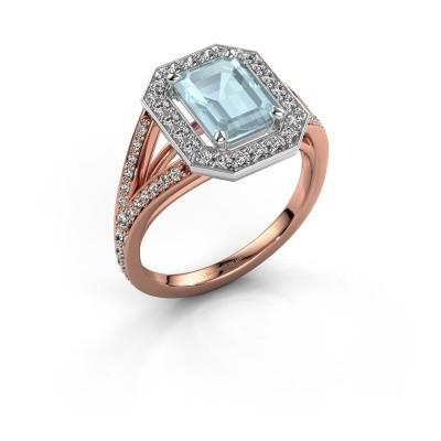 Promise ring Angelita EME 585 rosé goud aquamarijn 8x6 mm