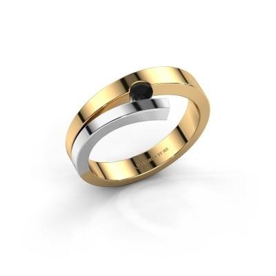Ring Rosario 585 goud zwarte diamant 0.12 crt