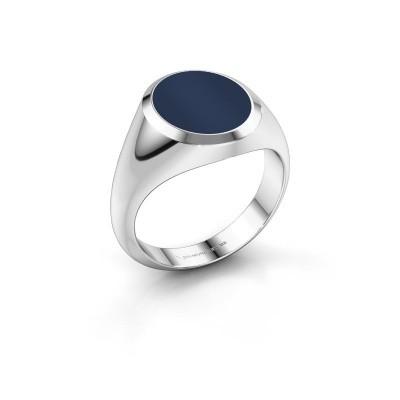 Zegelring Herman 3 925 zilver donker blauw lagensteen 13x11 mm