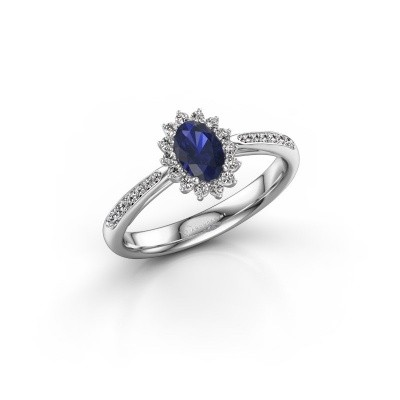 Picture of Engagement ring Tilly 2 585 white gold sapphire 6x4 mm