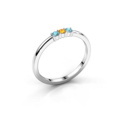 Verlovings ring Yasmin 3 950 platina citrien 2 mm