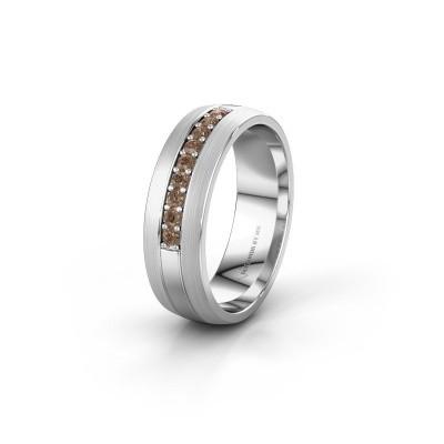 Trouwring WH0413L26APM 925 zilver bruine diamant ±6x1.7 mm