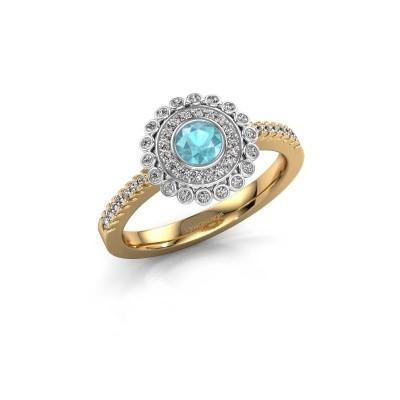 Verlobungsring Shanelle 585 Gold Blau Topas 4 mm