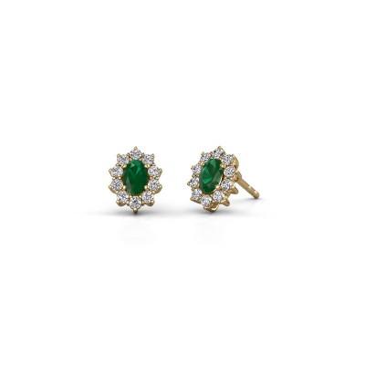 Earrings Leesa 375 gold emerald 6x4 mm