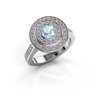 Ring Alecia 2 950 platina aquamarijn 5 mm