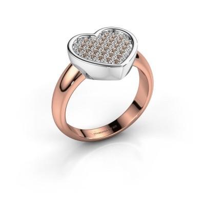 Ring Veerle 585 rosé goud bruine diamant 0.15 crt