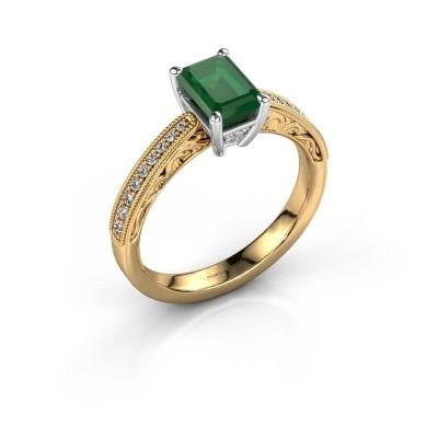 Verlovingsring Shonta EME 585 goud smaragd 7x5 mm