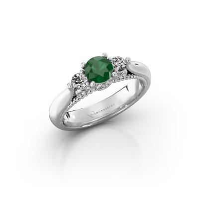 Foto van Verlovingsring Tiffani 925 zilver smaragd 5 mm