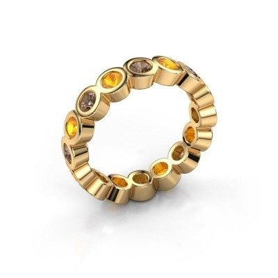 Stackable ring Edwina 3 375 gold brown diamond 0.80 crt