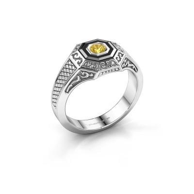 Foto van Heren ring Dion 925 zilver gele saffier 4 mm