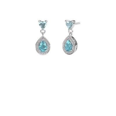 Picture of Drop earrings Susannah 950 platinum blue topaz 6x4 mm