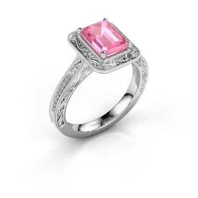 Verlovings ring Alice EME 585 witgoud roze saffier 7x5 mm