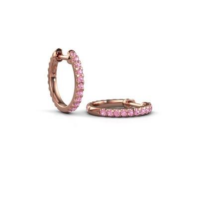 Foto van Creolen Jackie 12.5 mm A 375 rosé goud roze saffier 1.5 mm
