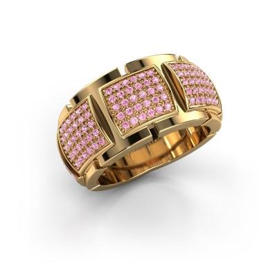 Ring Laura 375 goud roze saffier 1 mm