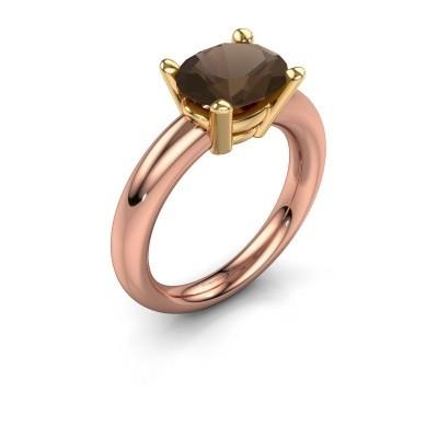 Foto van Ring Janiece 585 rosé goud rookkwarts 10x8 mm
