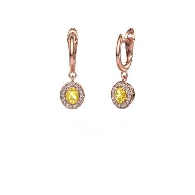 Drop earrings Nakita 375 rose gold yellow sapphire 5x4 mm