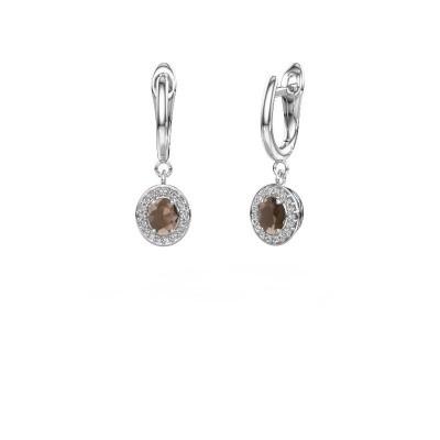 Drop earrings Nakita 950 platinum smokey quartz 5x4 mm