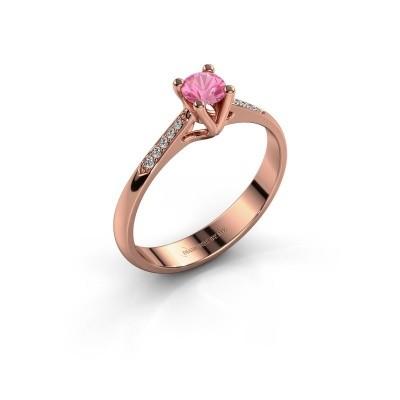 Promise ring Janna 2 375 rosé goud roze saffier 4 mm
