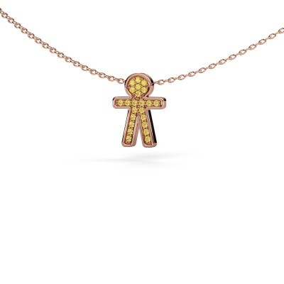Pendant Boy 375 rose gold yellow sapphire 1 mm