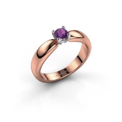 Promise ring Katrijn 585 rosé goud amethist 4.2 mm
