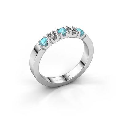 Verlovingsring Dana 5 950 platina blauw topaas 3 mm